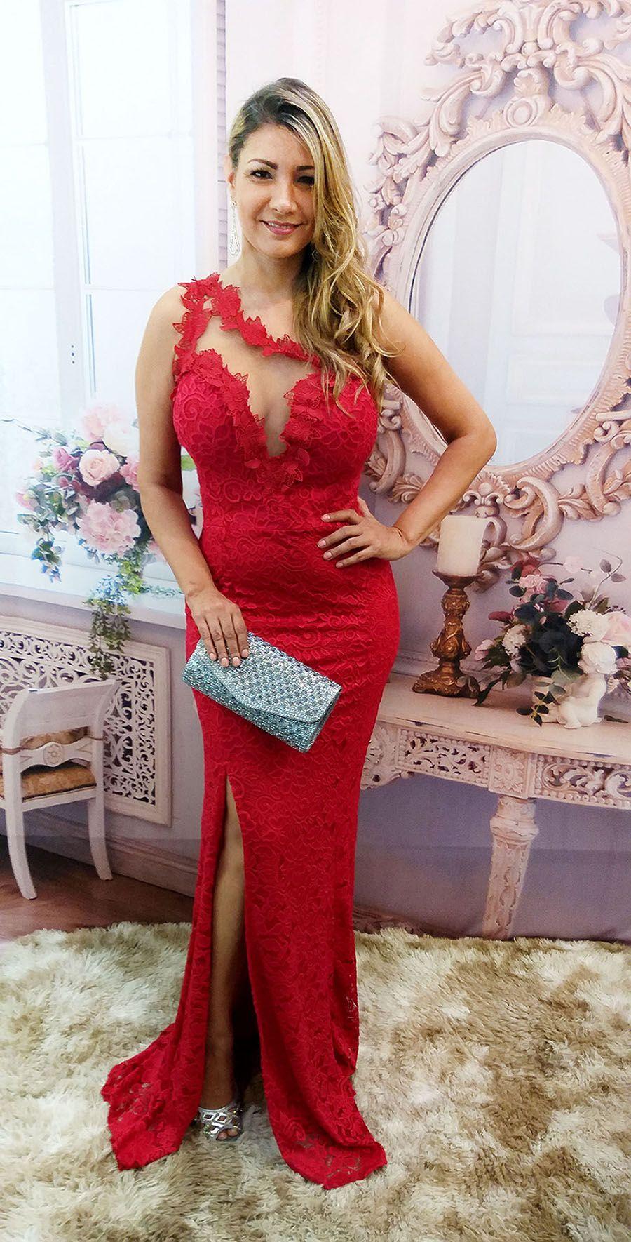 8bdfacb8b ... Vestido de Festa Renda Vermelho - Fenda