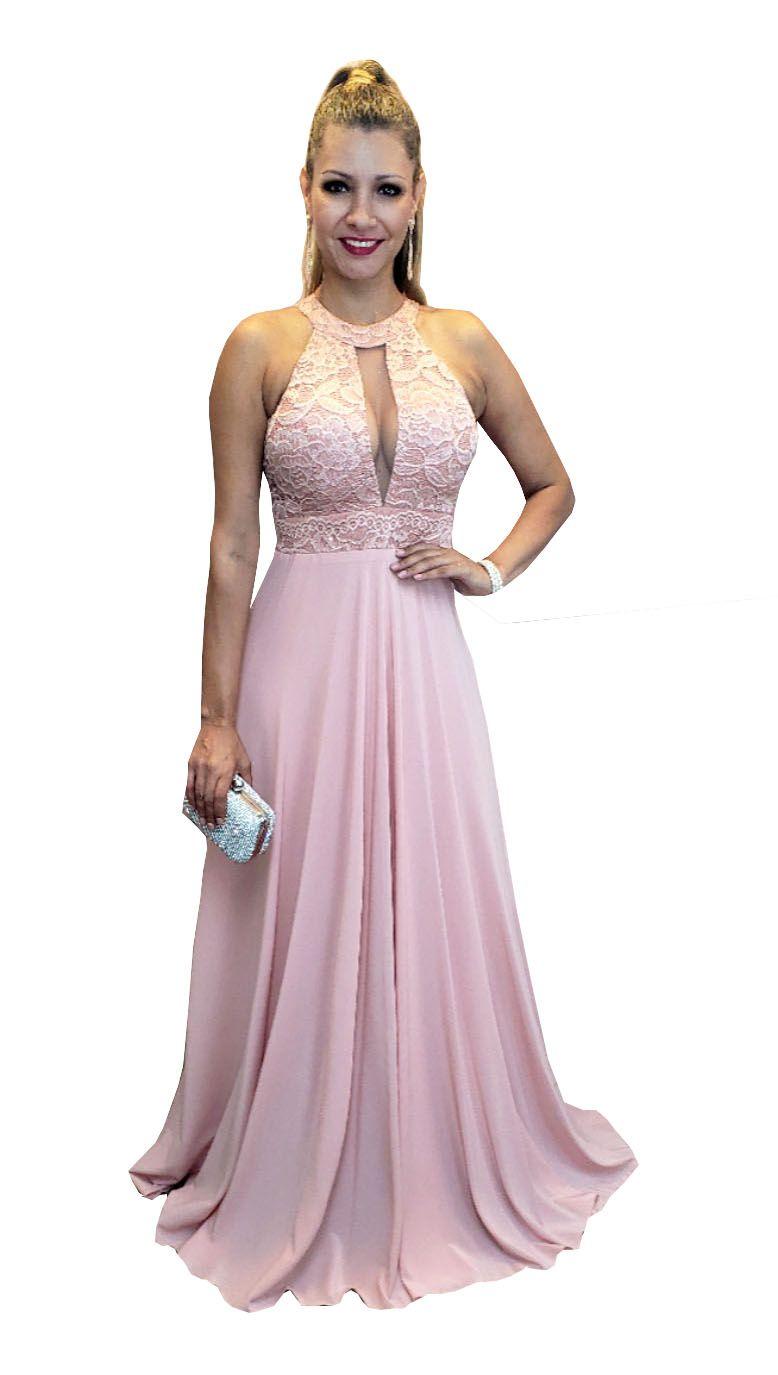 Vestido De Festa Rose Madrinha Casamento Formatura Lindo