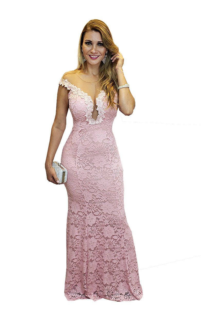 Vestido Festa Rose Ombro A Ombro Madrinha Lindo