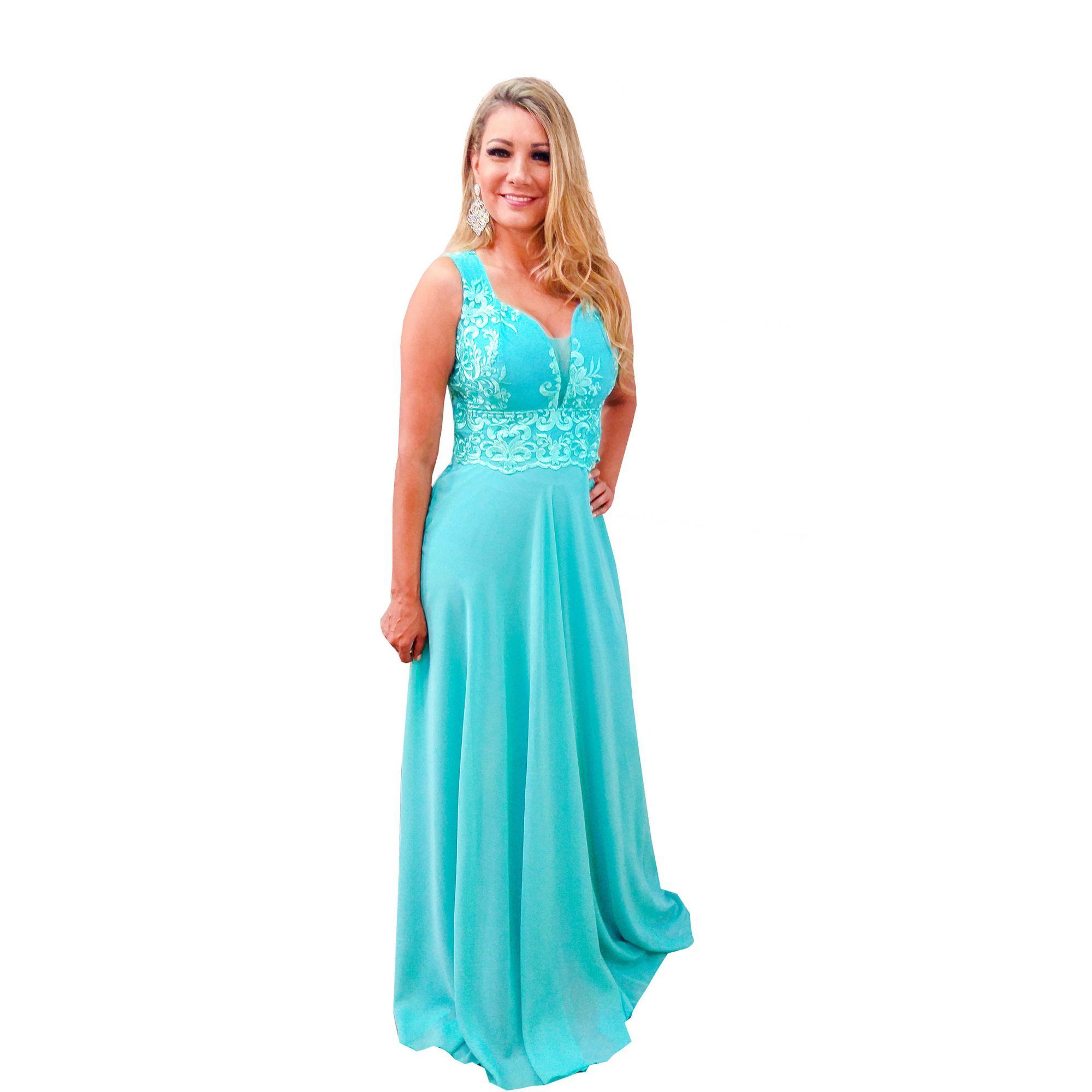381f443f7 Vestido Festa Verde Tiffany, Lindo Madrinha, Casamento - Grife Velasco