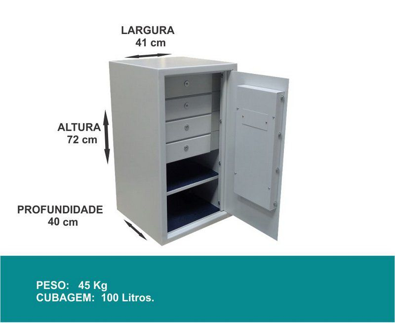 Cofre Eletrônico Digital - Comercial 72 - 04 gavetas