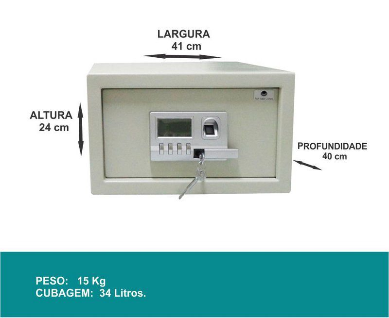 Cofre Eletrônico Digital - LAP 41 Biometrico para Hotel
