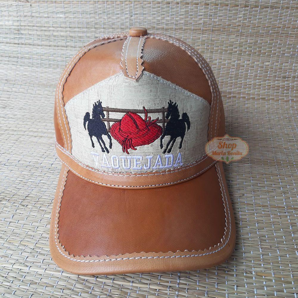 Boné de Vaquejada em Couro 2 Cavalos