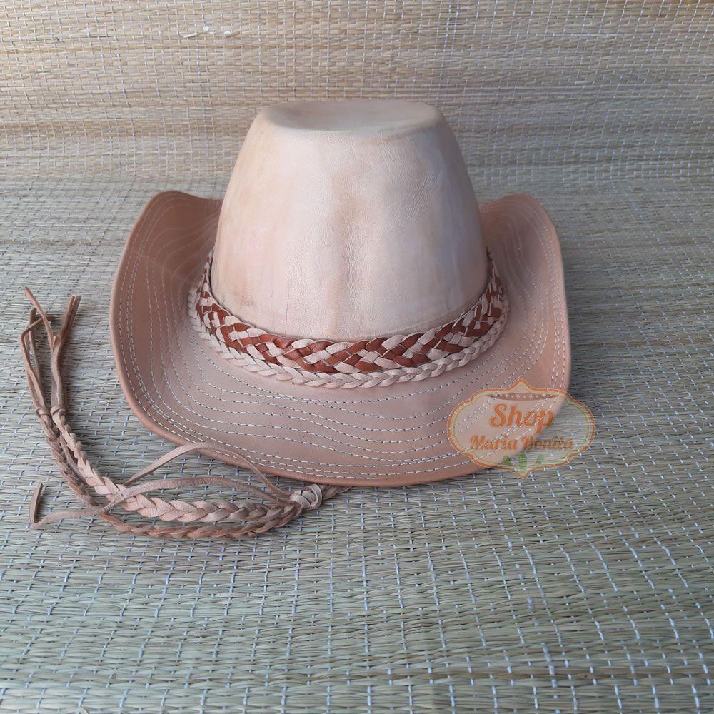 Chapéu Country Vaqueiro em Couro Natural