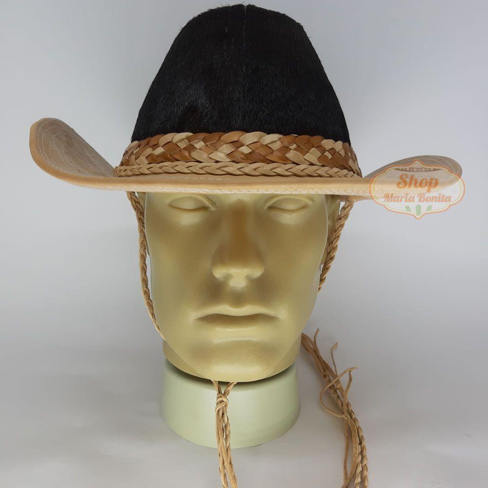 Chapéu Country Vaqueiro em Couro e Pelo