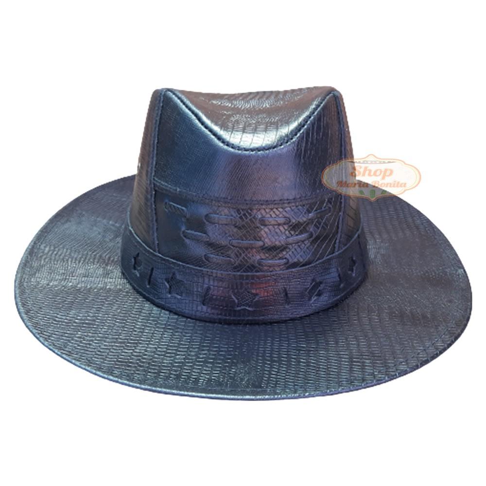 Chapéu Vaqueiro Country em Couro Preto