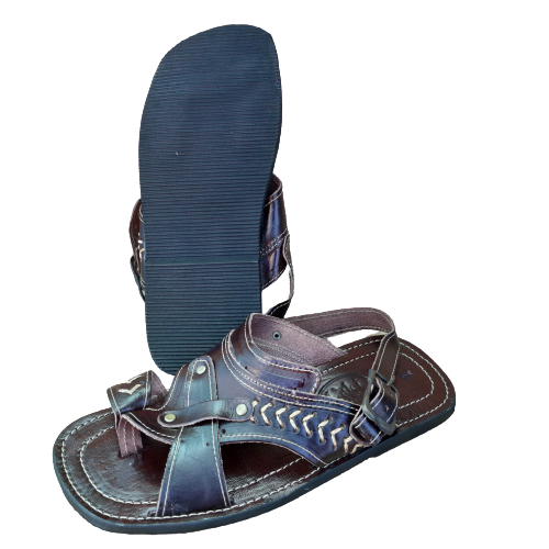 Sandália em Couro Bordada Masculina