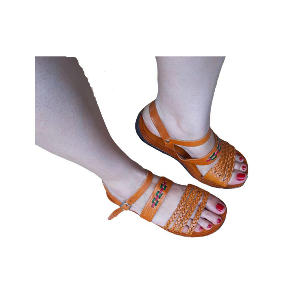 Sandália em Couro Feminina  Laranja