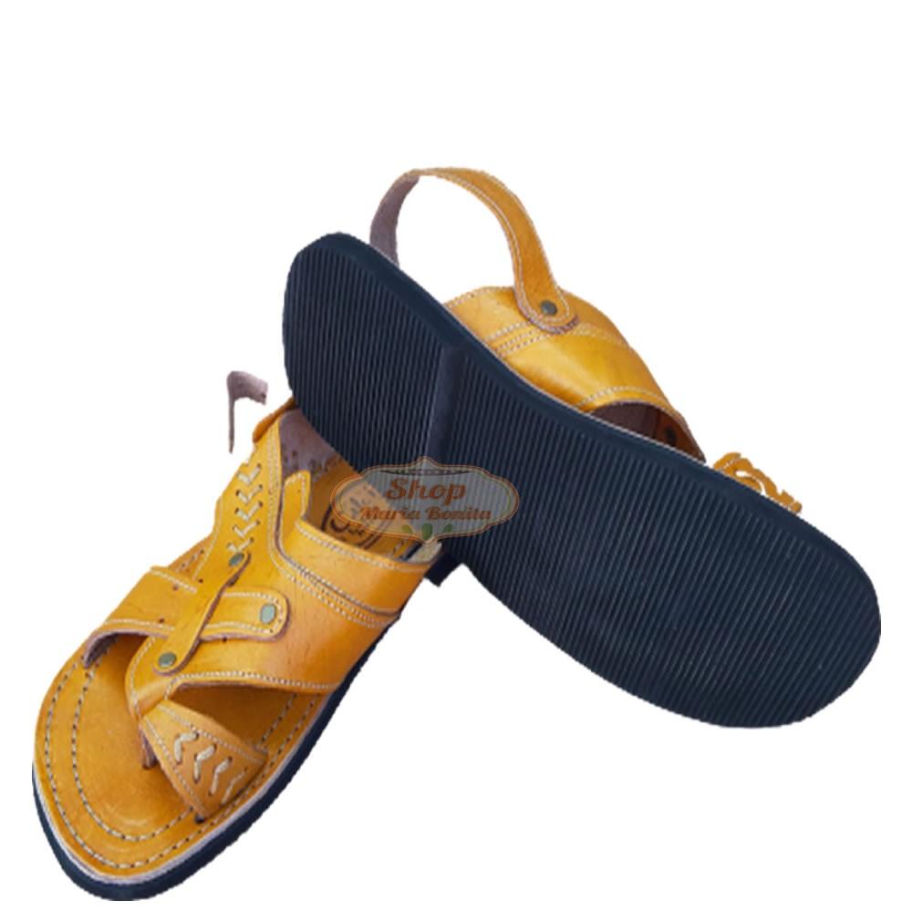 Sandália Em couro Laranja