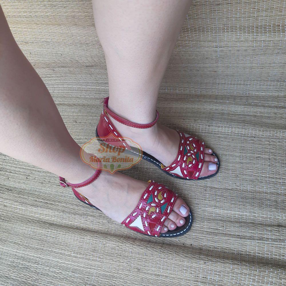 Sandália em Couro Maria Bonita Pink