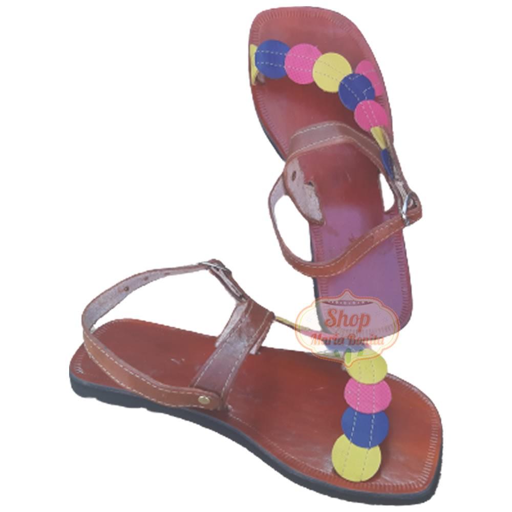 Sandália em Couro Multi Color