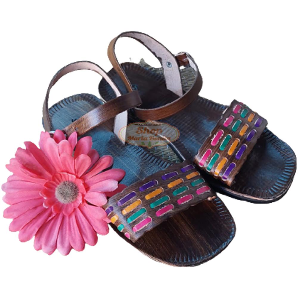 Sandália  em Couro Tira Colorida