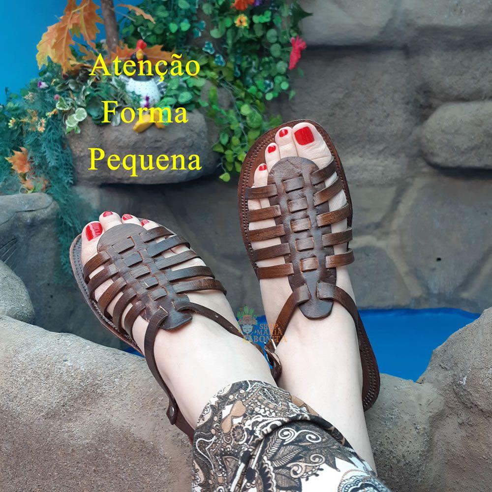Sandália Gladiadora Rasteirinha Artesanal Em Couro Lisa