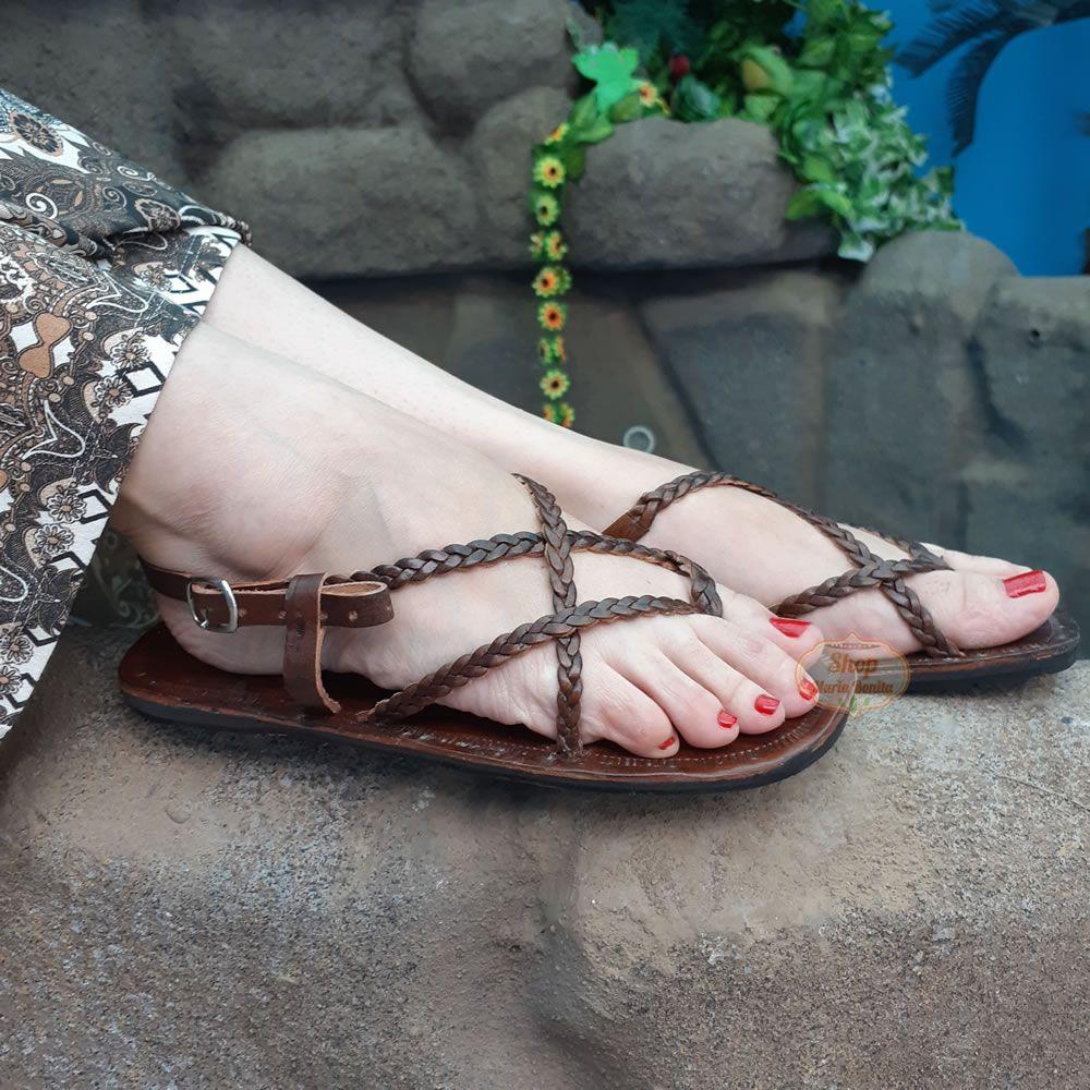 Sandália Grega Em Couro