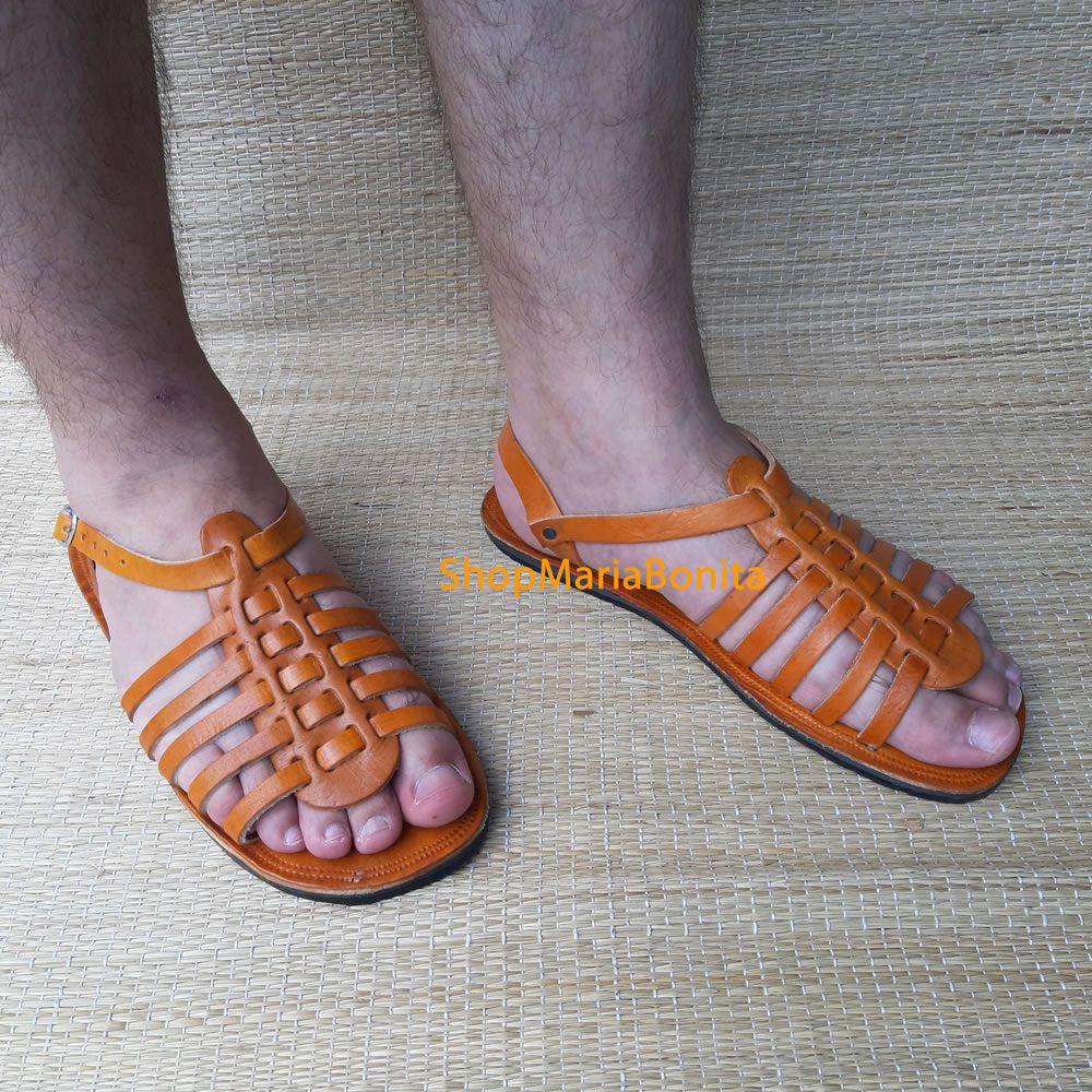 Sandália Grega Em Couro Maculina