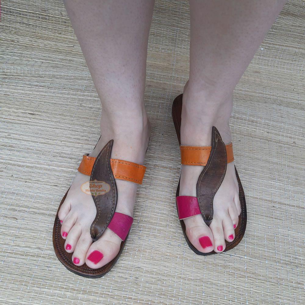Sandália Pimenta Feminina em Couro