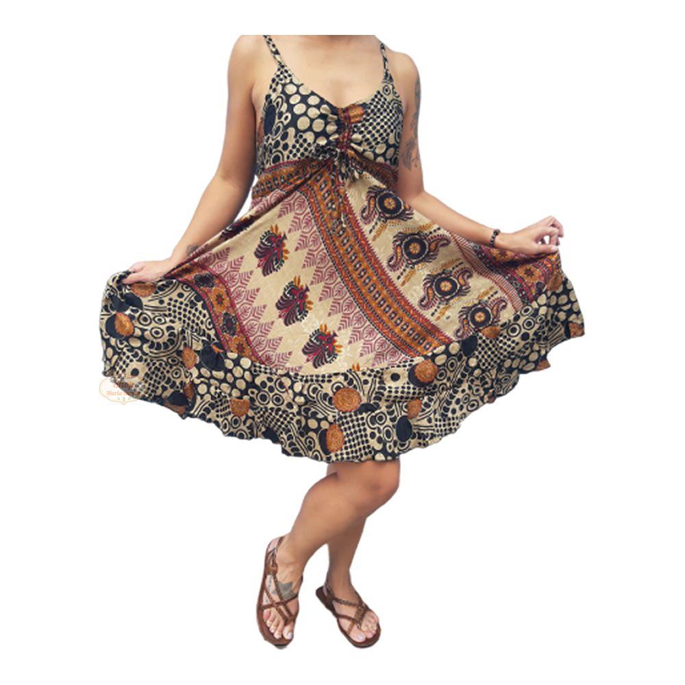 Vestido Indiano Curto de Alcinha Boho