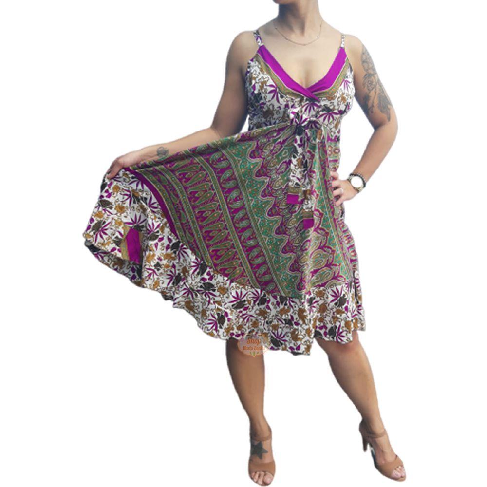 Vestido Indiano Boho Curto Seda
