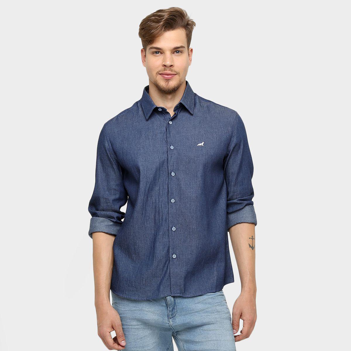 Camisa Masculina Jeans Manga Longa Sem Estampa