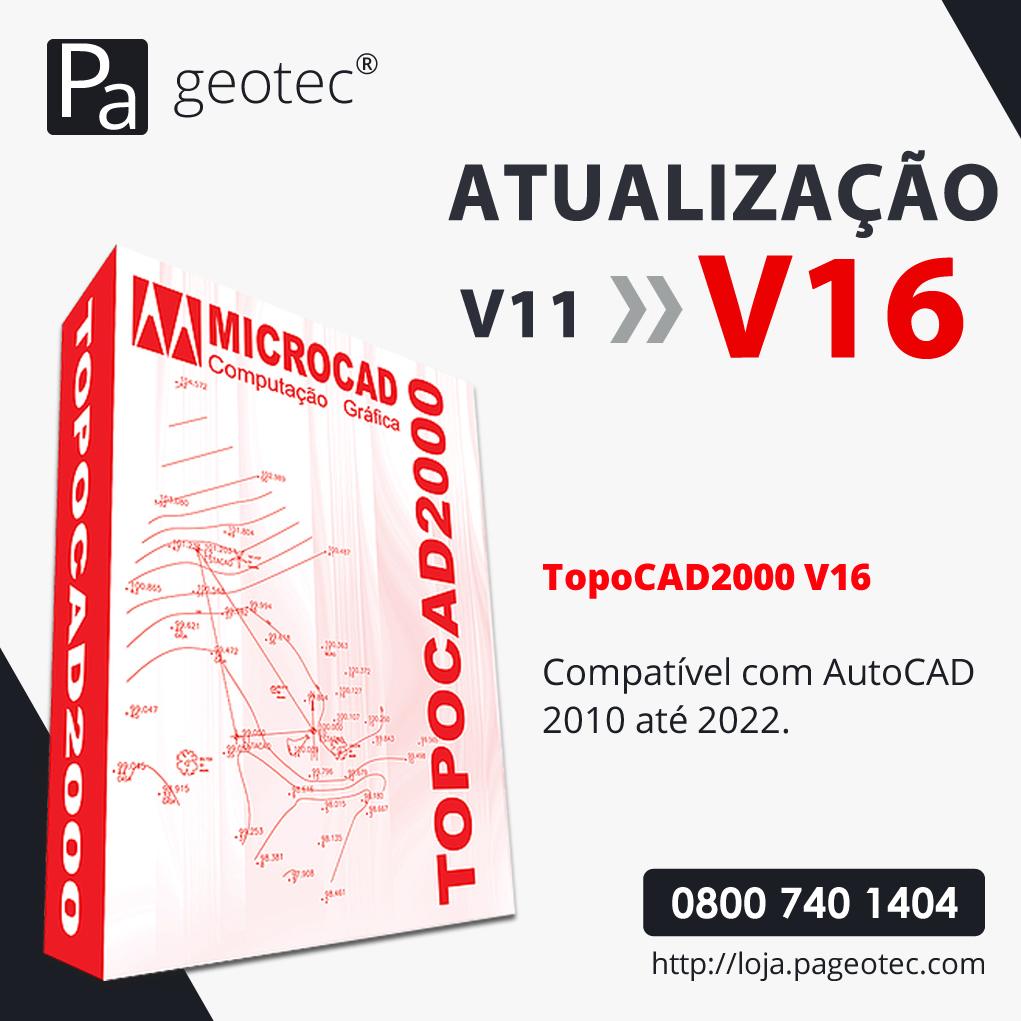 TOPOCAD2000 - ATUALIZAÇÃO V11 PARA V16