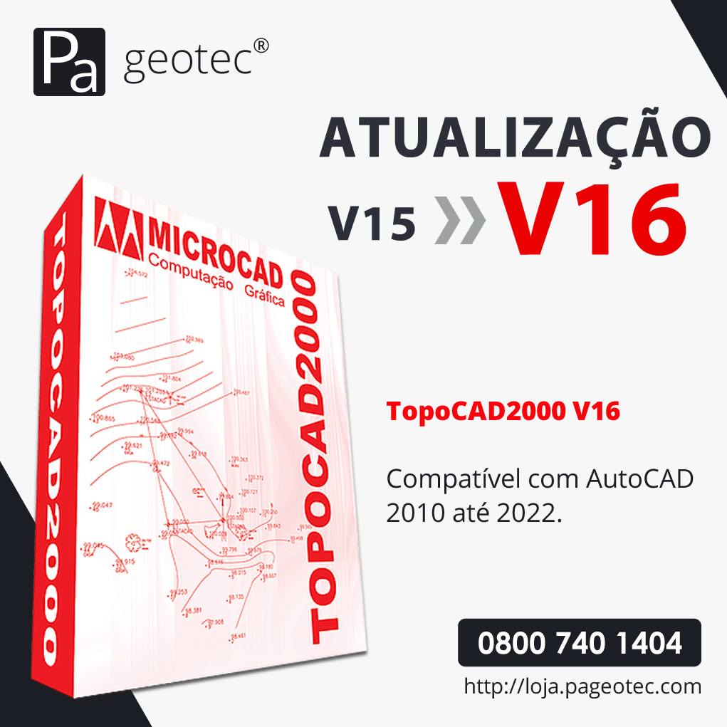 TOPOCAD2000 - ATUALIZAÇÃO V15 PARA V16