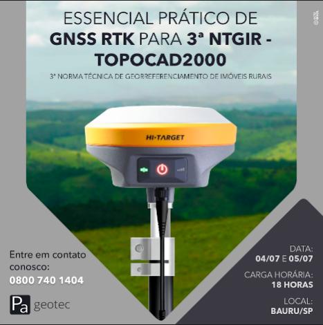 Treinamento Prático de GNSS RTK para o Geo Presencial dias 04 e 05 de Julho 2019