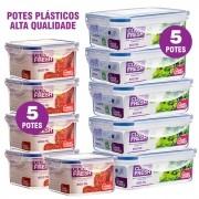 Conjunto 10 Potes Plasticos 100% Herméticos Alta Qualidade Click Fresh