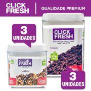 Conjunto de Alta Qualidade com 6 lindos potes para mantimentos Click Fresh