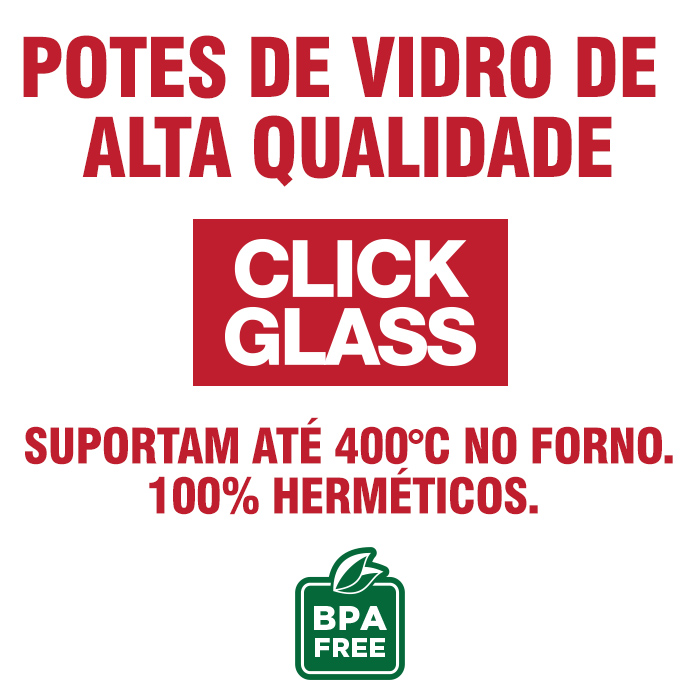 Kit 8 Potes de Vidro 100% Herméticos Qualidade Click Glass
