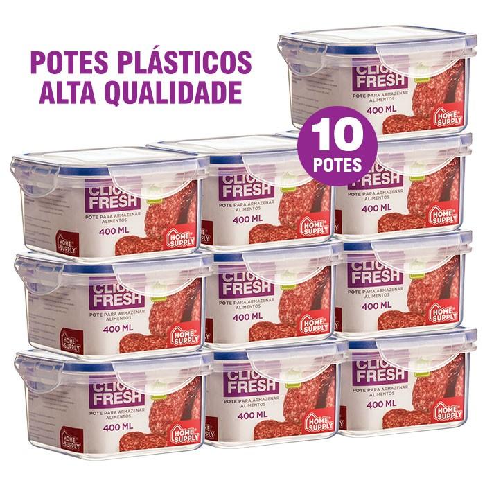 Conjunto 10 Potes Plásticos 100% Herméticos Alta Qualidade Click Fresh