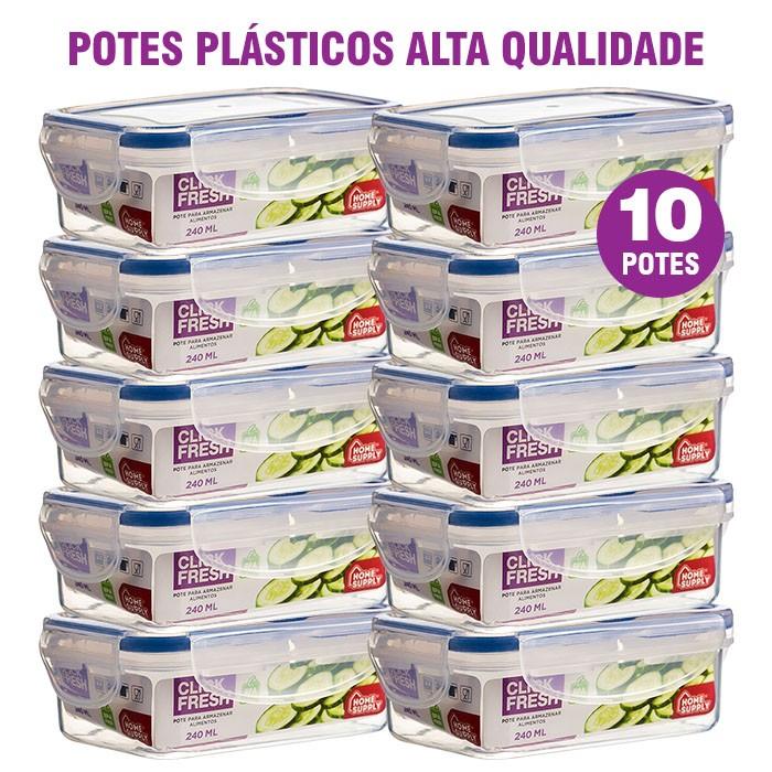 Kit com 10 potes plásticos 240 ML 100% herméticos Alta Qualidade Click Fresh