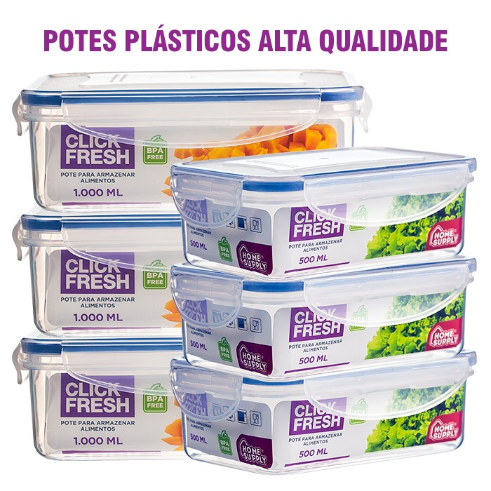 Conjunto 6 Potes Plásticos 100% Herméticos Alta Qualidade Click Fresh