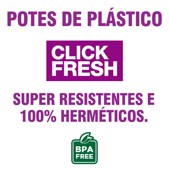 Conjunto 6 Potes Plasticos 100% Herméticos Alta Qualidade Click Fresh