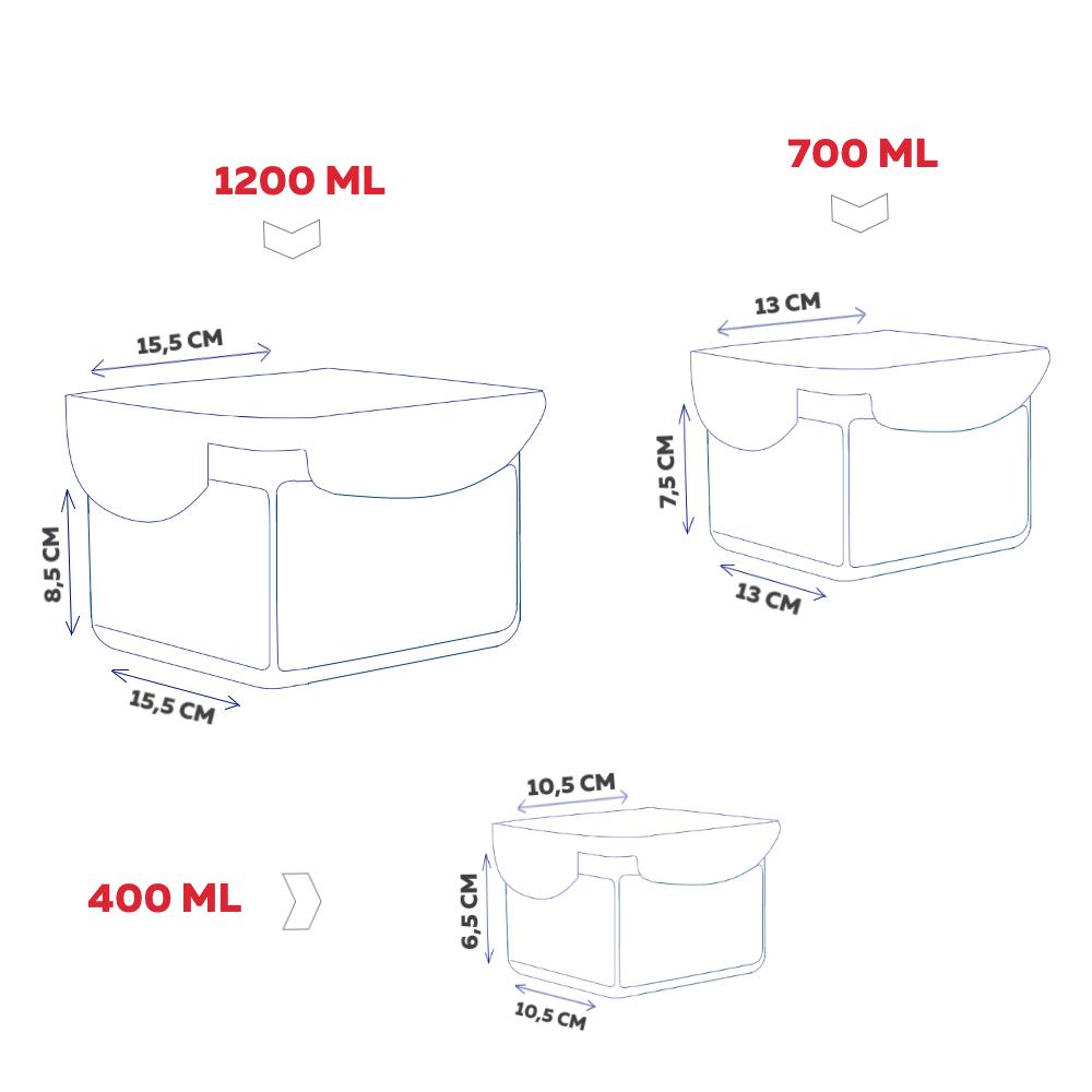 Conjunto com 3 potes herméticos Click Fresh (1x400ML, 1x700ML, 1x1.200ML)