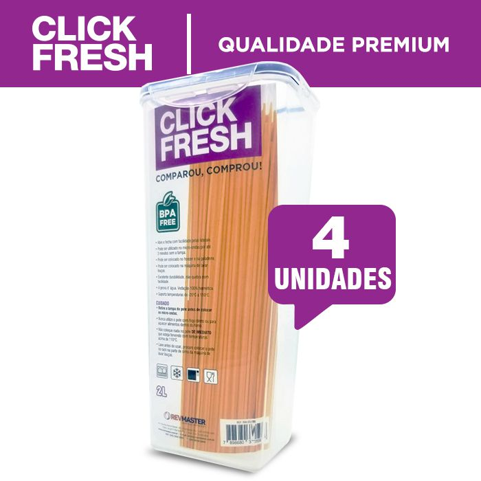 Conjunto 4 Potes 100% Herméticos Para Mantimentos (Macarrão) Click Fresh