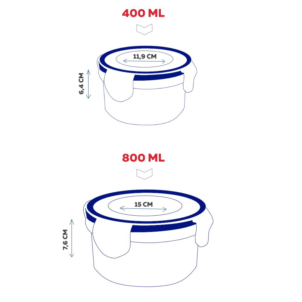 Conjunto com 4 potes herméticos Click Fresh (2X400ML, 2X800ML)