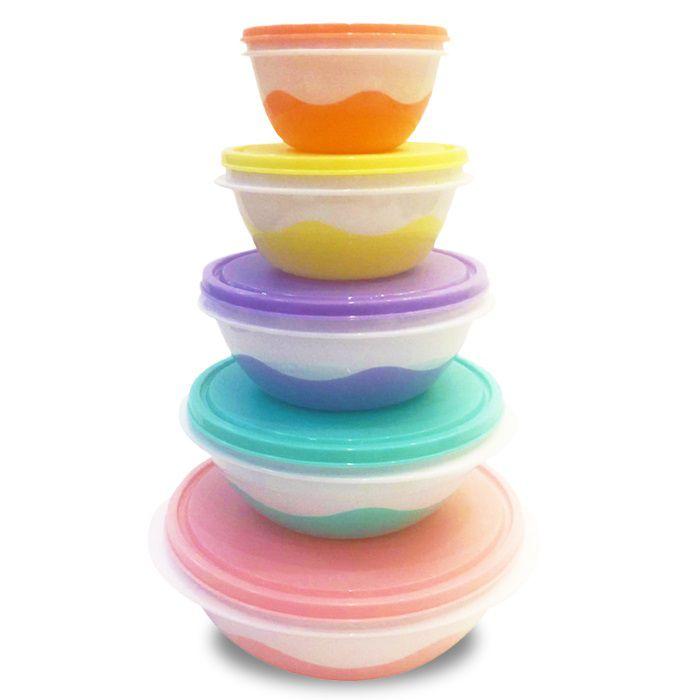 Conjunto com 5 potes coloridos redondos (1X310ML, 1X580ML, 1X960ML, 1.400ML, 2.000ML)