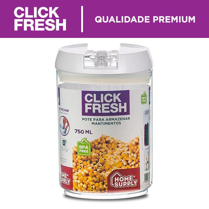 Conjunto de Alta Qualidade com 5 potes herméticos para mantimentos Click Fresh