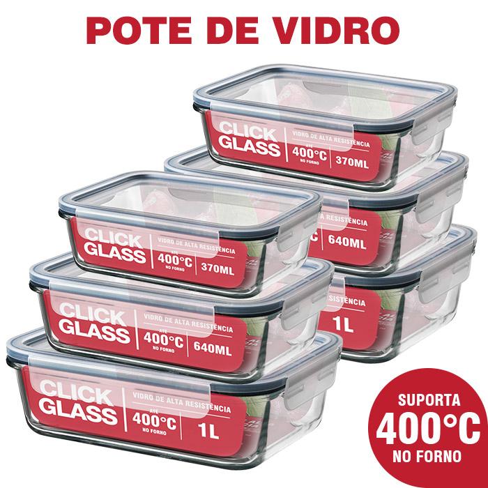 Kit 6 Potes de Vidro 100% Herméticos Qualidade Click Glass