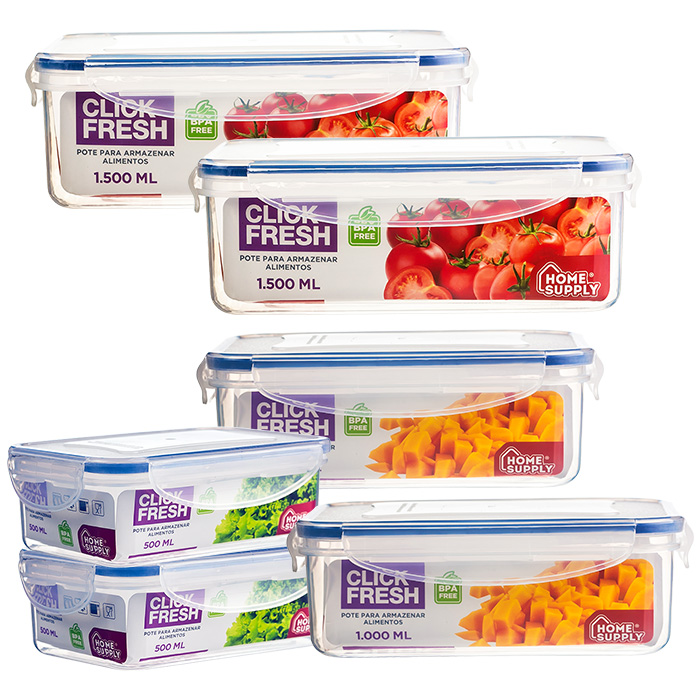 Kit 6 potes plásticos herméticos alta qualidade Click Fresh