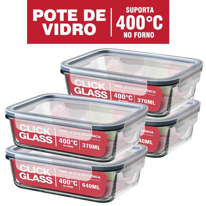 Kit 4 Potes de Vidro 100% Herméticos Qualidade Click Glass