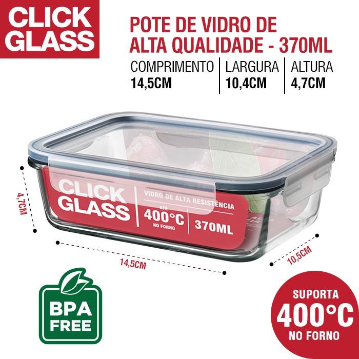 Kit com 4 potes de vidro herméticos Click Glass Premium (2x370ML + 2x640ML)