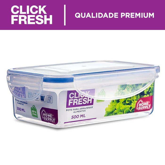 Kit com 4 potes hermeticos de alta qualidade click fresh