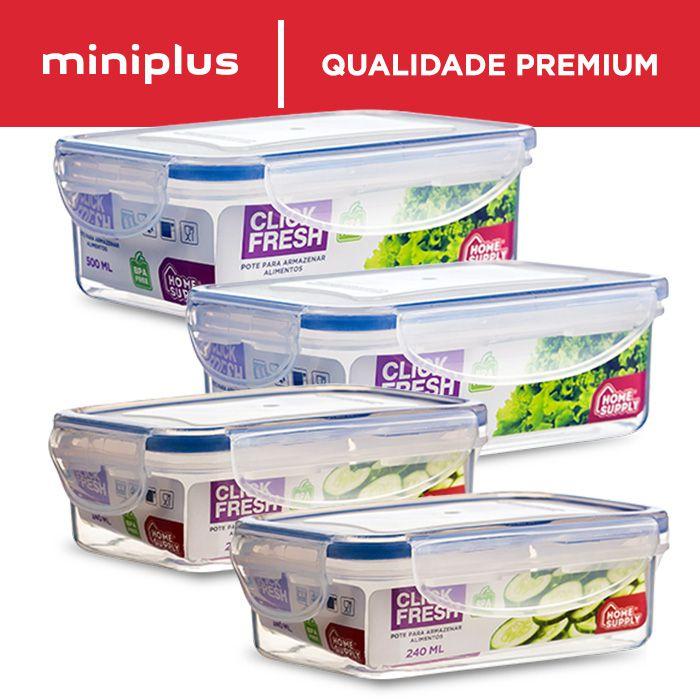 Kit com 4 potes herméticos de alta qualidade - Click Fresh