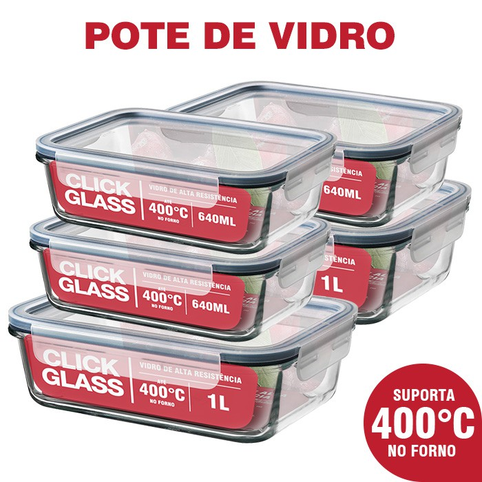 Kit com 5 potes de vidro herméticos Click Glass Premium (3x640ML + 2x1L)
