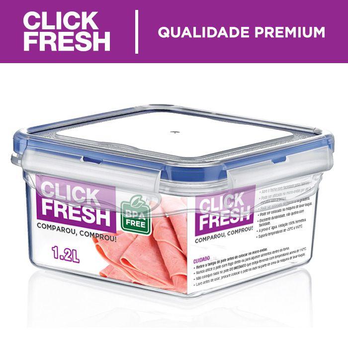 Kit com 6 potes hermeticos click fresh de alta qualidade