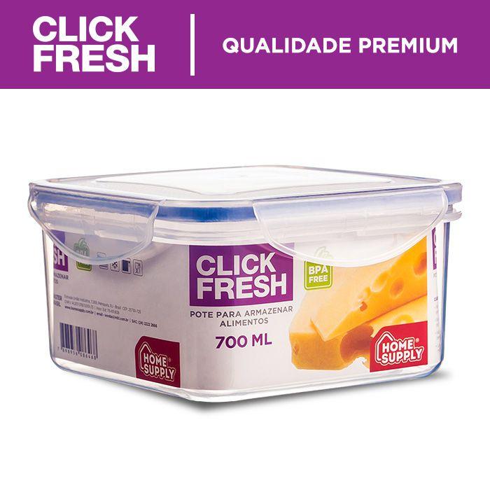 kit com 6 potes herméticos de alta qualidade click fresh