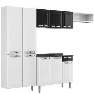 Armário Cozinha Itatiaia Rose Compacta 4 Peças Branco/Preto
