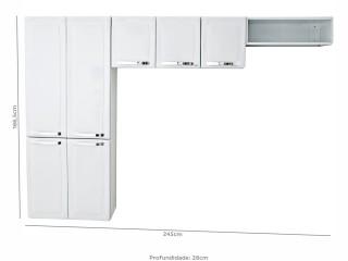 Armário Itatiaia Cozinha Rose Compacta 3 peças Branco
