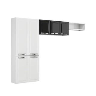Armário Itatiaia Cozinha Rose Compacta 3 peças Branco/Preto